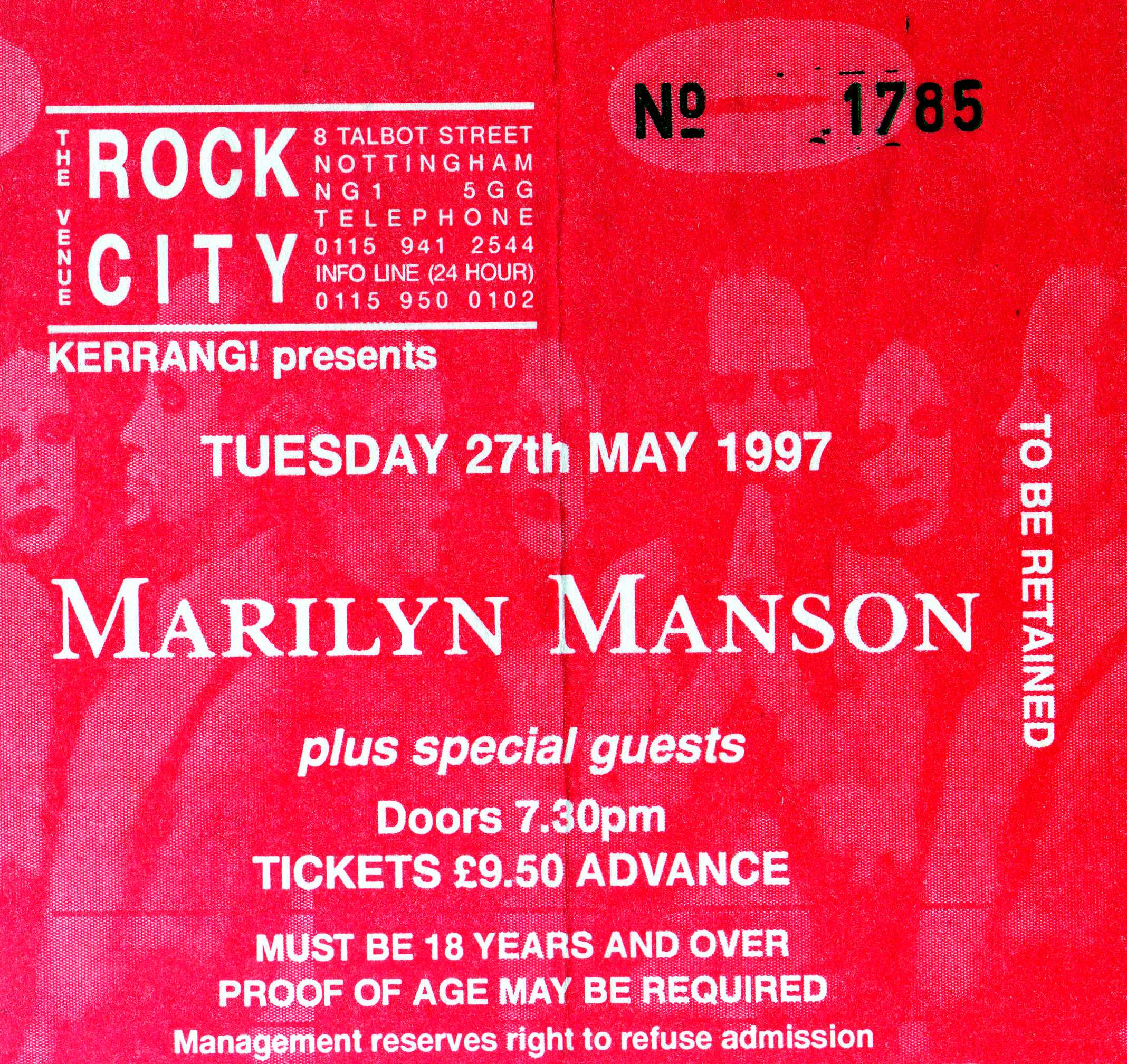 May 27, 1997 performance at Rock City in Nottingham, United Kingdom.