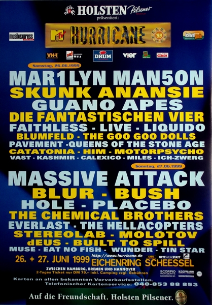 June 26, 1999 performance at The Hurricane Festival in Scheessel, Germany.