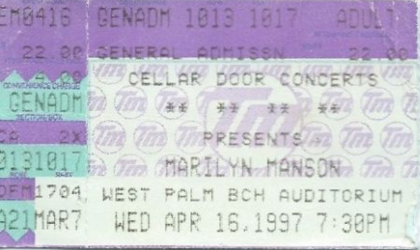 April 16, 1997 performance at West Palm Beach Auditorium in West Palm Beach, Florida, USA.
