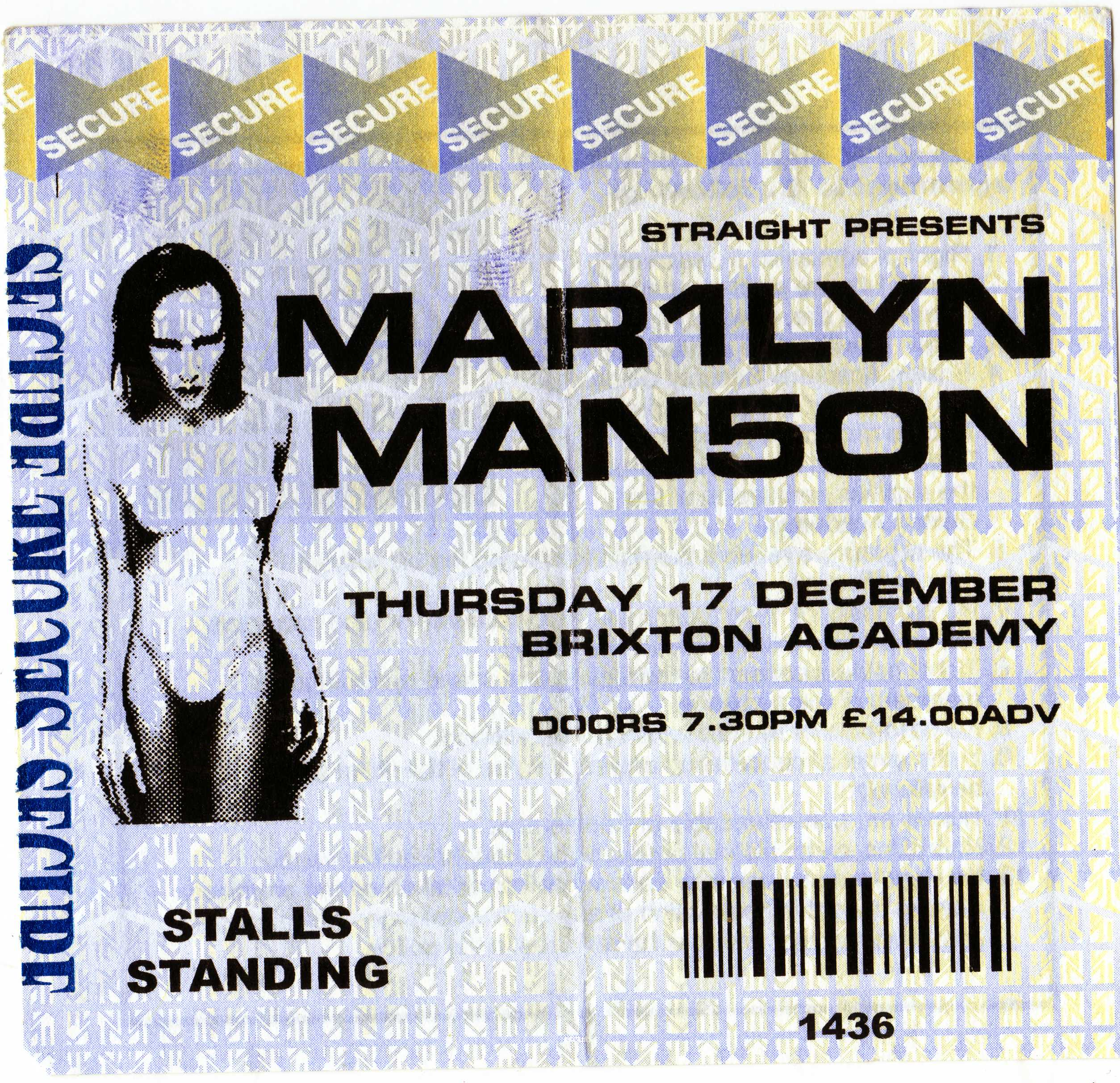 December 17, 1998 performance at The Brixton Academy in London, England.