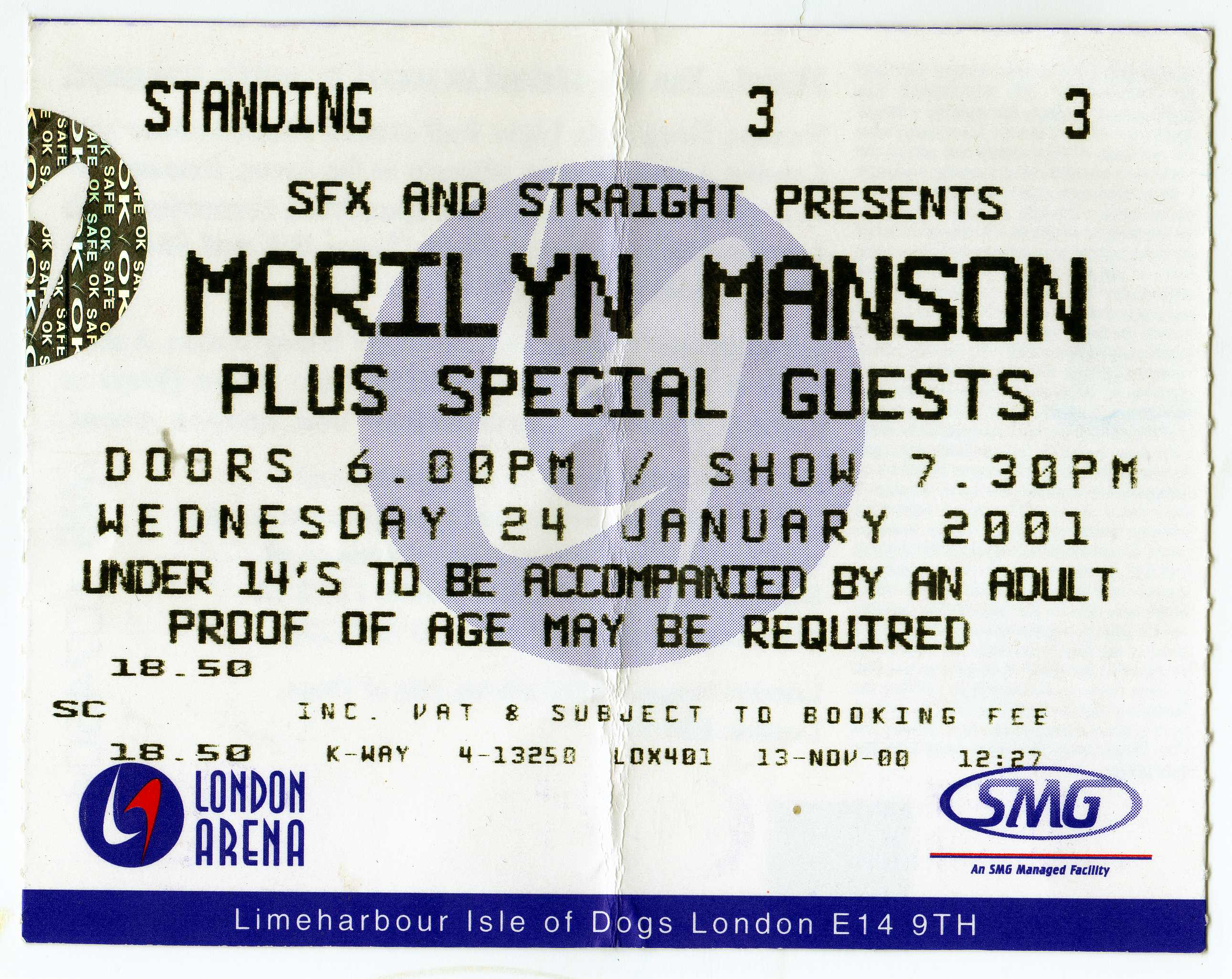January 24, 2001 performance at Docklands Arena in London, England.
