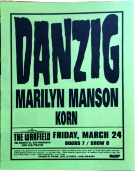 March 24, 1995 performance at The Warfield in San Francisco, California, USA.